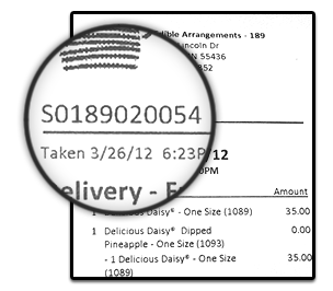 Example Order Number – Order Number is on top left of the Store Receipt below Edible logo