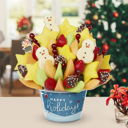 Brighten Their Day Celebration - 3 Pineapple Snowman - HD Semi-sweet strawberries with white crisps - Holidays Container