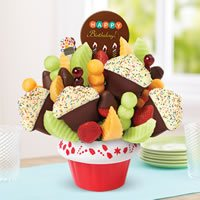 Confetti Fruit Cupcake w/ Dipped Strawberries w/ Happy BDay Belgian Choc Pop