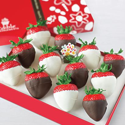 White and Semisweet Chocolate Dipped Strawberries Box