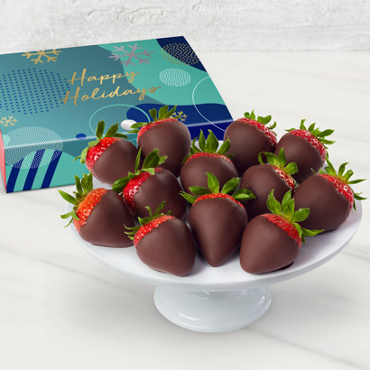 Happy Holidays Chocolate Dipped Strawberries Box