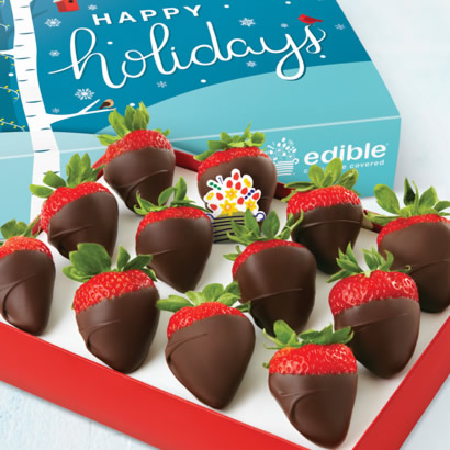Happy Holidays Chocolate Dipped Strawberries Box