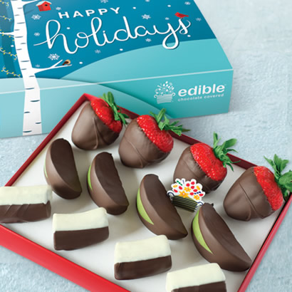 Happy Holidays Chocolate Dipped Strawberries, Apples & Bananas