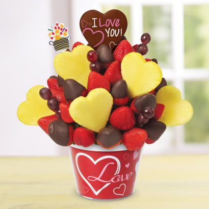 Blooming Hearts w/ Dipped Strawberries & Love pop - Love Container