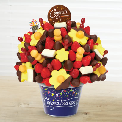 Congratulations Berry Chocolate Bouquet with Dipped Pineapple & Dipped Banana