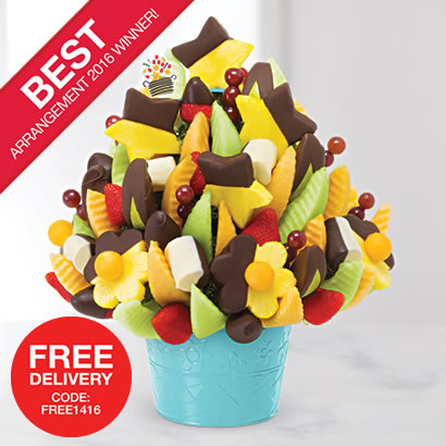 Voted Best Arrangement of 2016! Delicious Celebration® – Dipped Fruit Delight
