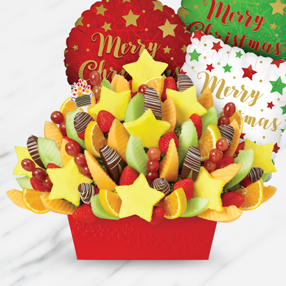 Brighten Their Day Festival Swizzle Strawberries & Apples and Happy Holidays Balloon Bundle