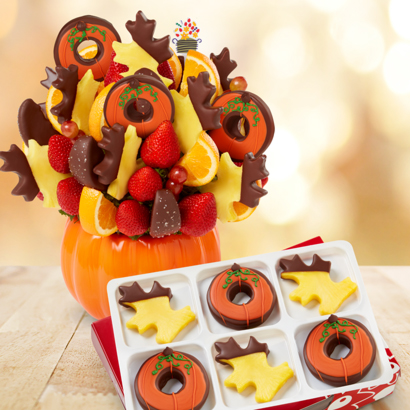 Salted Caramel Harvest Bouquet Pumpkin Edible Donuts & Dipped Pineapple - Deliciously Fall Dipped fruit Box (half dozen)