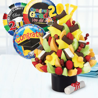 Graduation Celebration w/ Dipped Bananas & 2015 Banner & Graduation Balloon Bundle