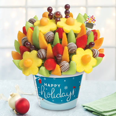 Happy Holidays Delicious Fruit Design® with Swizzle Apple Fruit Truffles®
