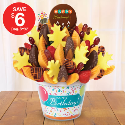 Salted Caramel Harvest bouquet, birthday pop, birthday container, orange swizzle berries