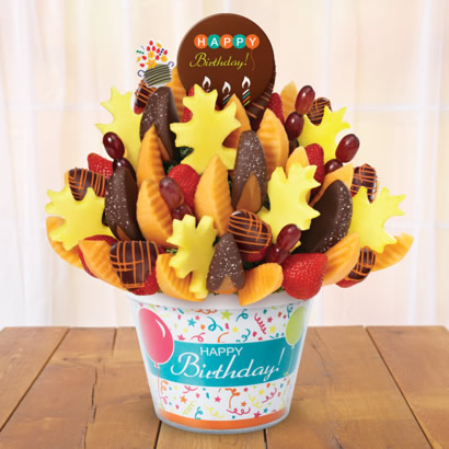Salted Caramel Harvest bouquet, birthday pop, birthday container, orange swizzle berries