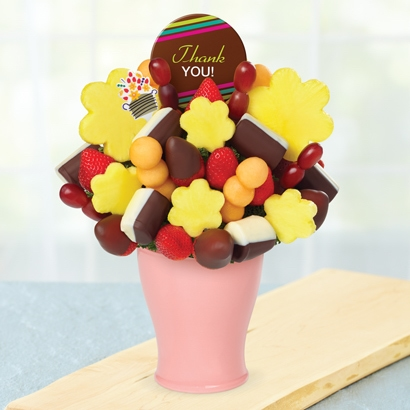 Thank You Bouquet w/ Dipped Strawberries w/ Thank You Belgian Choc Pop