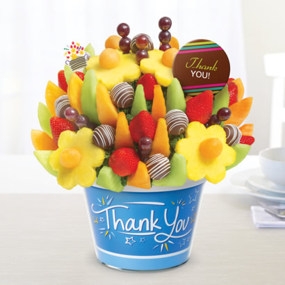 Delicious Fruit Design w/ Swizzle Apple Fruit Truffles & Thank You chocolate pop - Thank You Container