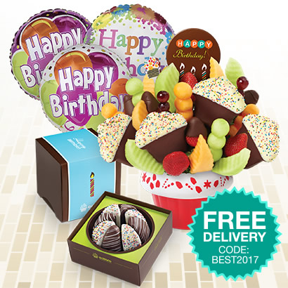 Confetti Fruit Cupcake w/ Dipped Strawberries & Happy Birthday chocolate pop, Party Perfect Shareable (w/ Birthday sleeve), & Birthday Balloon Bundle