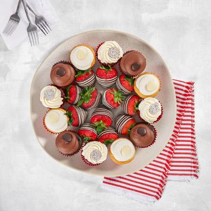 Assorted Red Velvet Chocolate  Vanilla Cupcakes Platter