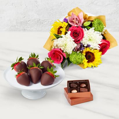 Bright Flowers Strawberries  Chocolates Box