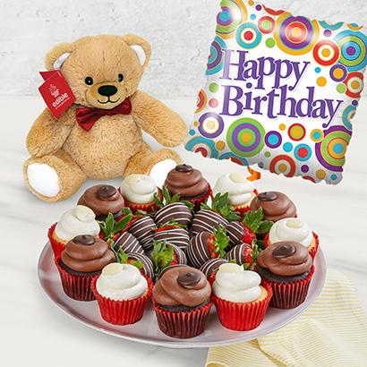 Happy Birthday Dipped Fruit  Cupcake Bundle