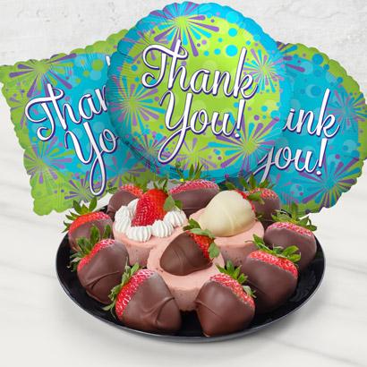Strawberry Fruit Basket Thank You Gift Bundle