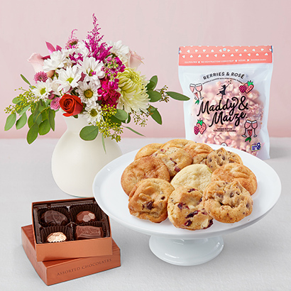 Valentines Day Treats & Flowers Bundle