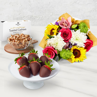 Bright Flowers, Nuts & Fruit Gift Basket