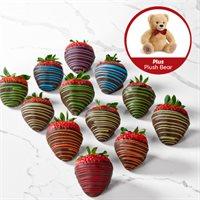 Rainbow Chocolate Covered Strawberries & Plush Bear