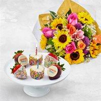 Birthday Bouquet & Berries Box
