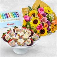 Happy Birthday Flowers and Fruit