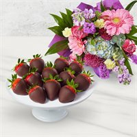 Flowers and Chocolate Covered Strawberries Box