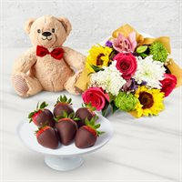 Flowers & Chocolate Covered Strawberries Gift Box