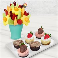 Brownie Cheesecake Bouquet & Fruit Gift