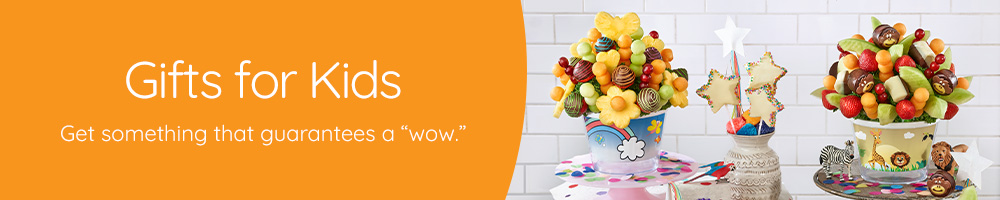Our kids arrangements with fresh fruit and gourmet chocolate are sure to delight!